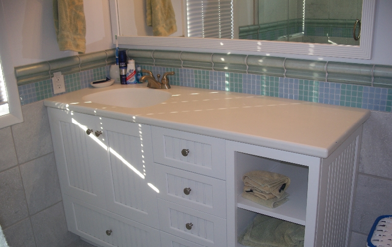 Custom White Wood Bath Sink and Storage