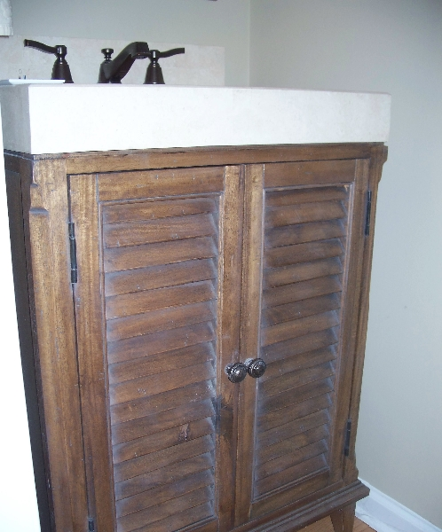 Custom Rustic Wood Sink Cabinets