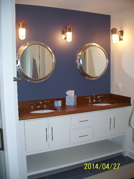 Custom Wood White Bath Double Sink Vanity