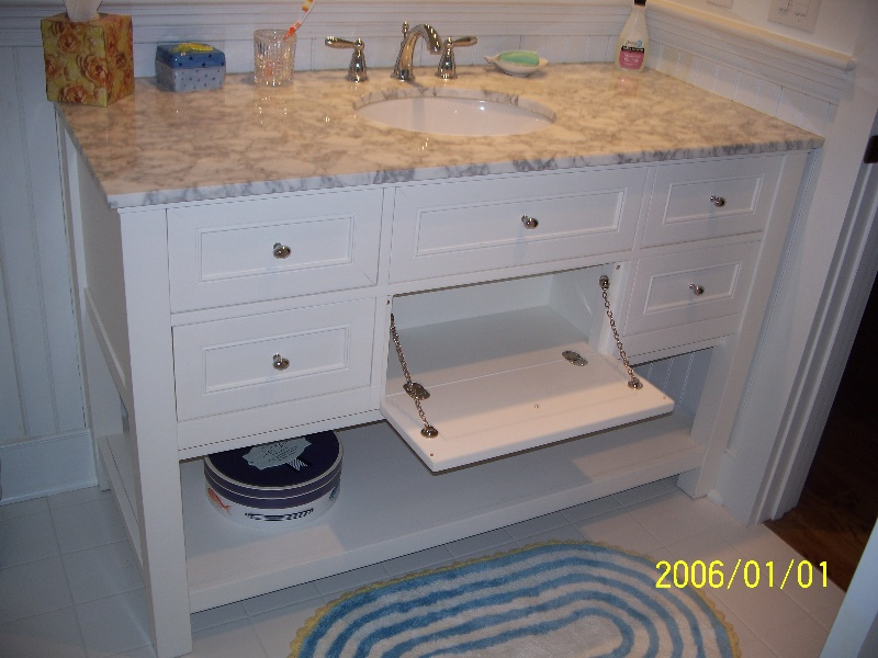 Custom White Wood Bathroom Storage in DE