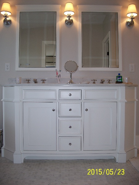Gorgeous White Custom Wood Bathroom Cabinets
