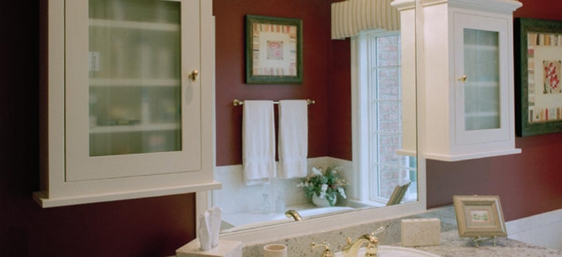 Custom White Bath Cabinets