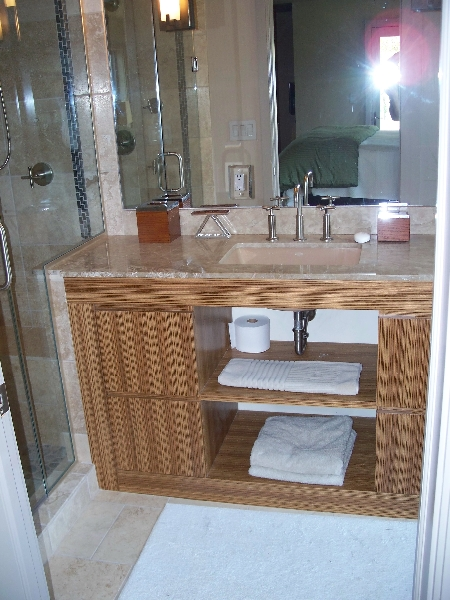 Custom Wood Bathroom Storage and Cabinets