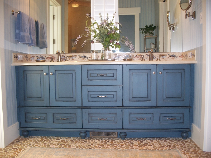 Custom Blue Wood Bathroom Cabinets