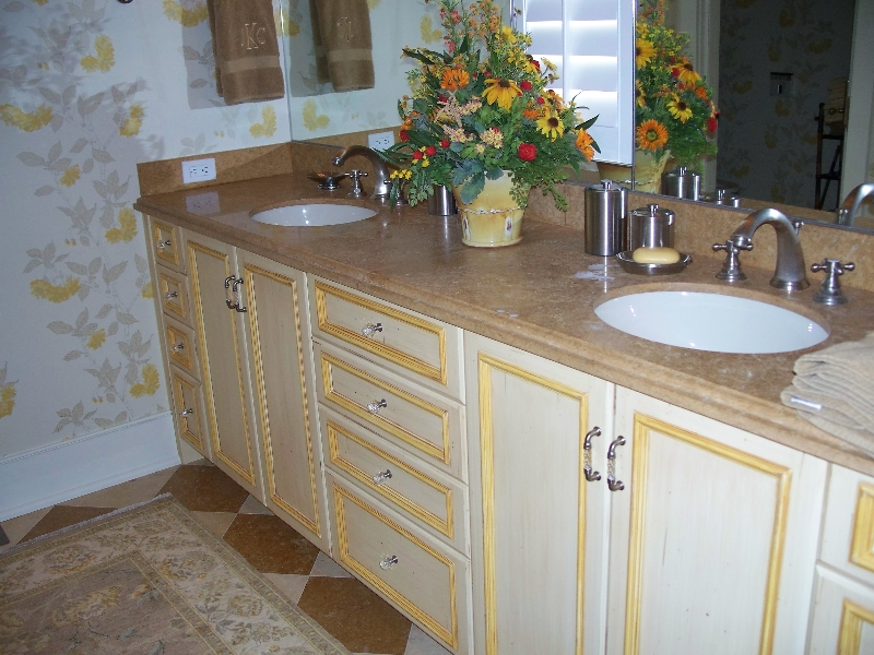 Custom White Wood Bathroom Cabinets
