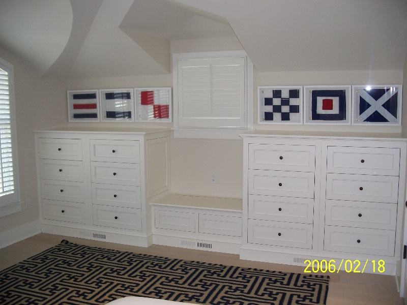 Custom White Wood Closet Built Ins