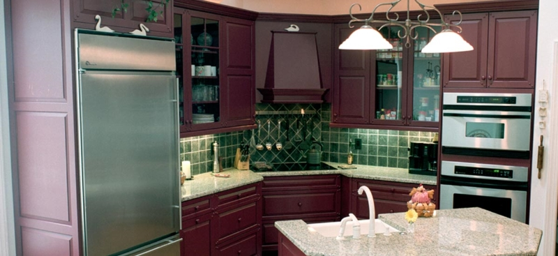 Custom Mahogany Wood Kitchen Cabinets