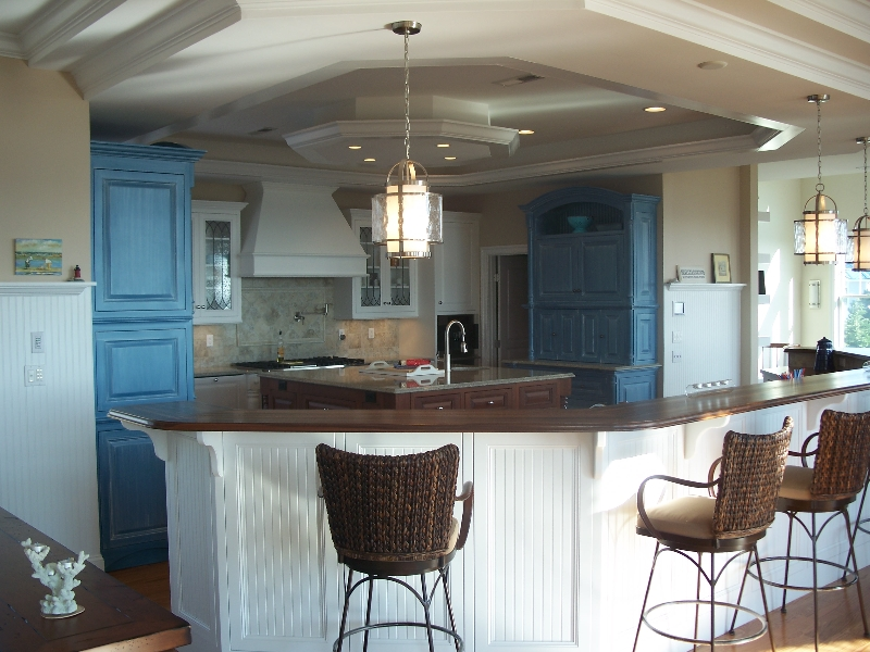 Custom Made White Kitchen Cabinets and Island