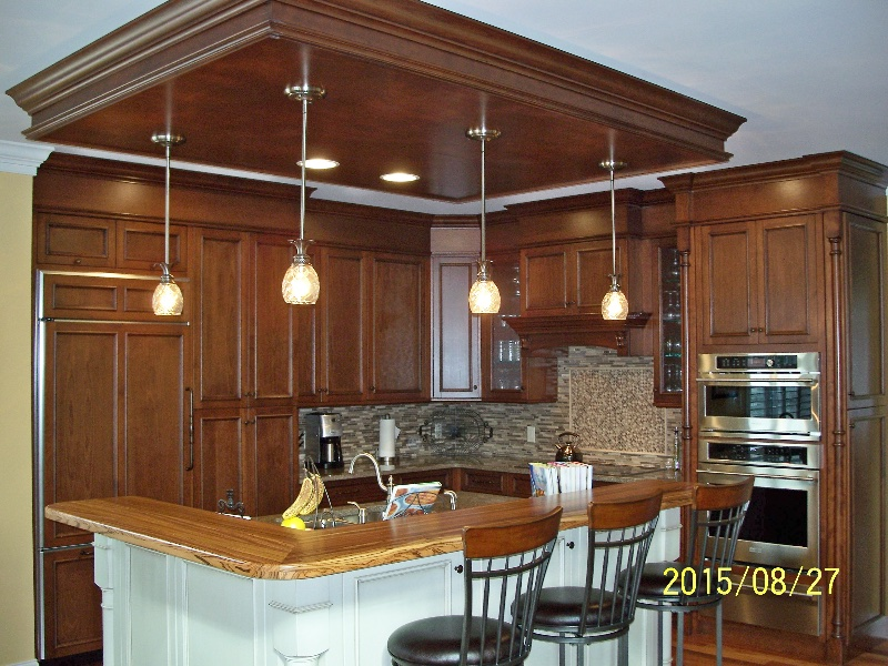 Custom Floor to Ceiling Wood Kitchen Cabinets